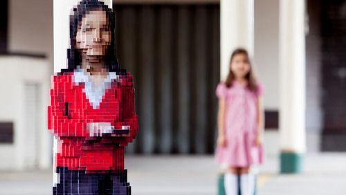Pixelated Child Sculptures