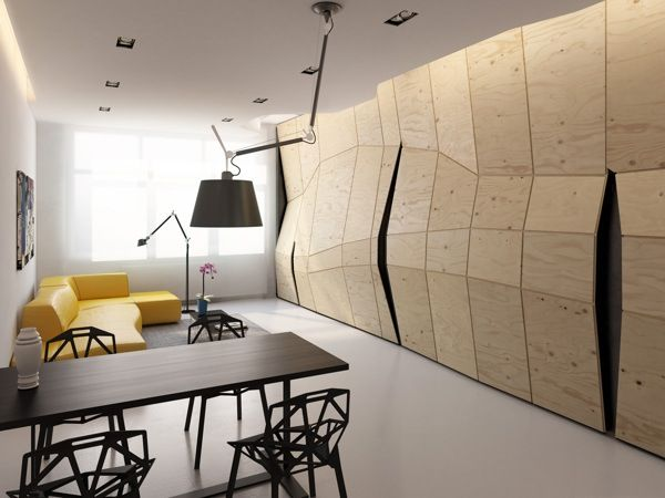 Warped sculptured apartment walls sculptured apartment walls - Cuisine au milieu de la piece ...
