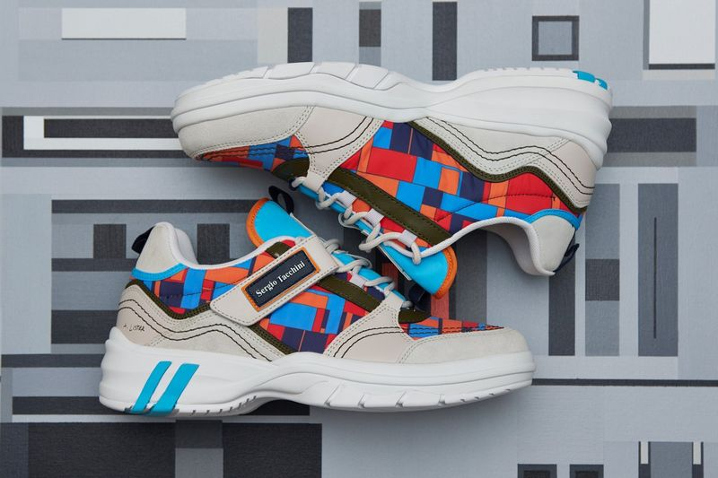 Neo-Cubist Art-Adorned Sneakers