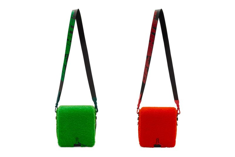 Soft Textural Streetwear Bags - The Off-White Binder Clip Bag Now Arrives in Sherpa Fleece (TrendHunter.com)
