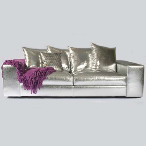 Beau Silver Leather Sofas