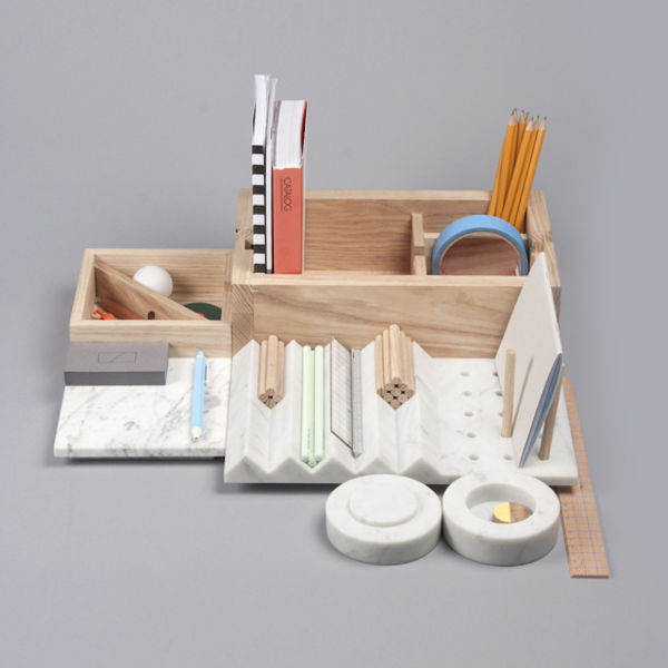 Marble-Wood Stationery Organizers