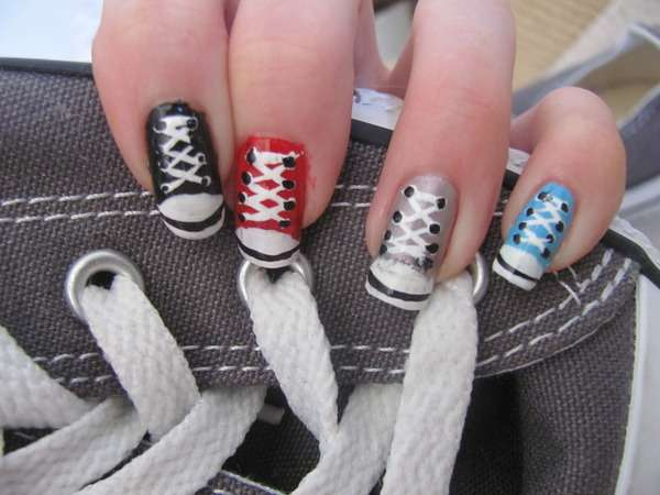 Hipster hightop manicures shoe nail designs hipster hightop manicures prinsesfo Choice Image