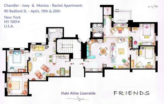 Tv comedy apartment blueprints sitcom flat floor plans tv comedy apartment blueprints malvernweather Gallery