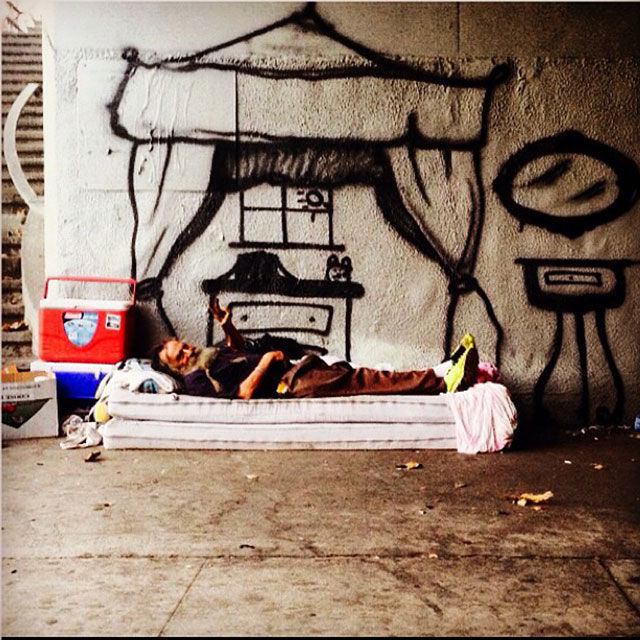Spray Painted Homeless Homes