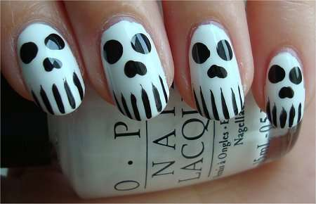 Spooky Skeleton Manicures Skull Nail Art