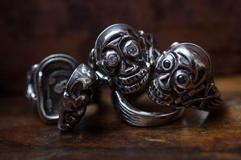 Diamond-Accented Skull Rings