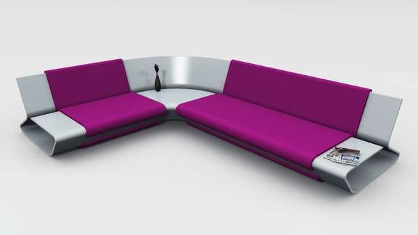 Sleek shelved seating slim sofa by stephane perruchon Sleek sofa set designs