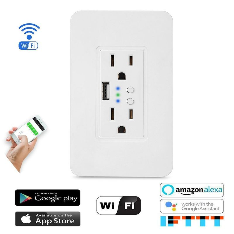 Hardwired Voice Assistant Outlets : Smart WiFi wall outlet