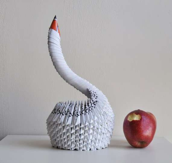 Immaculate Long Necked Papercrafts Snow White Swan