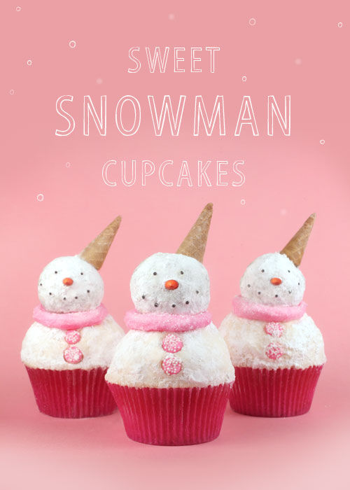 DIY Powdered Snowman Cupcakes