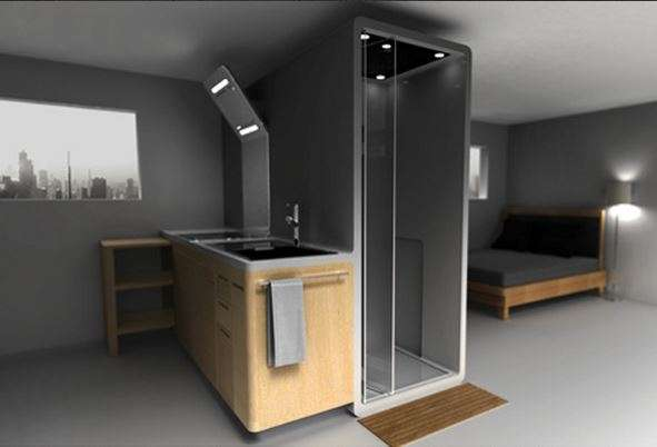 bathroom integrated kitchens space saving furniture. Black Bedroom Furniture Sets. Home Design Ideas