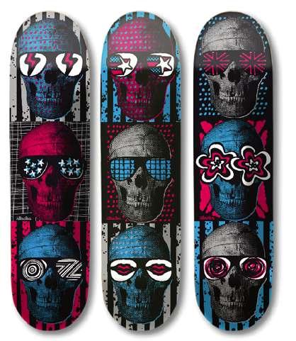 Psychedelic Skull Skateboards