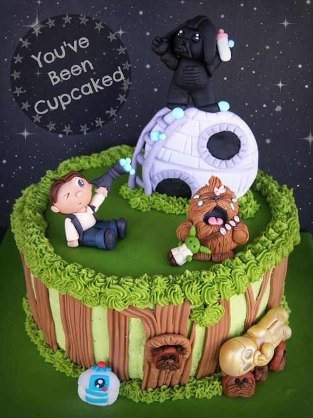 Surprising Galactic Cartoon Cakes Star Wars Birthday Cake Birthday Cards Printable Riciscafe Filternl