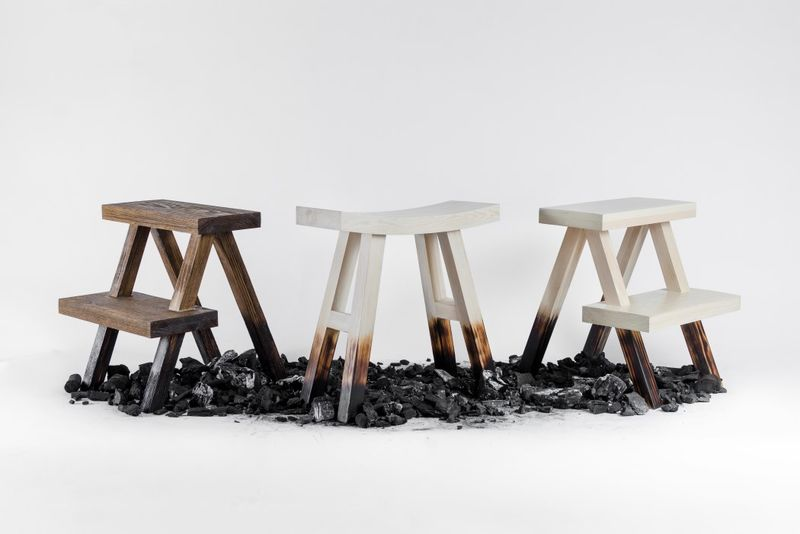 Rustically Scorched Step Stools