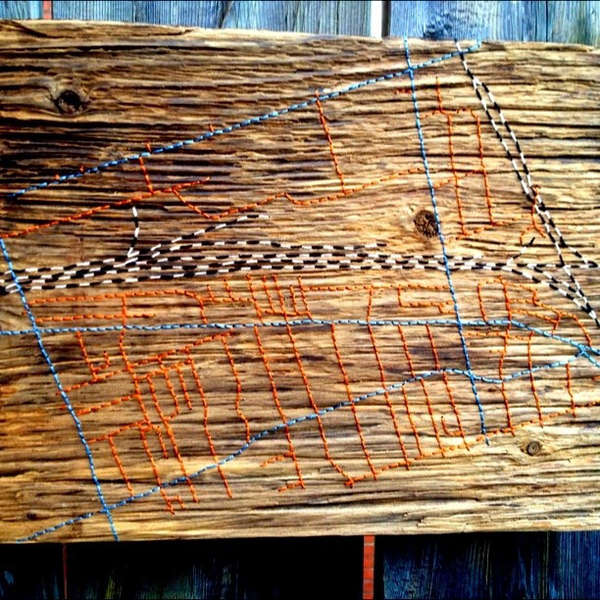 Stitched Wooden Maps
