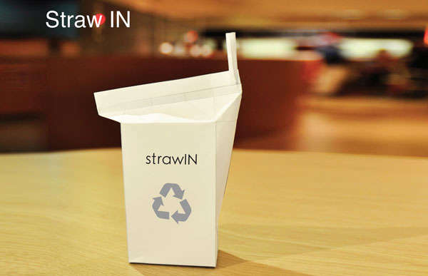 Built-In Straw Milk Cartons