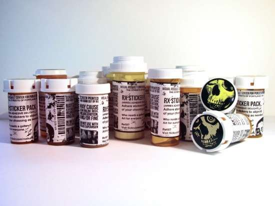 Sticker-Stocked Pill Bottles