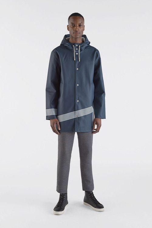 Collaborative Pinstripe Raincoats