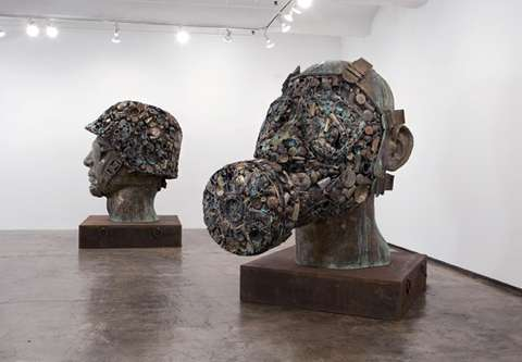 Gigantic Military Mask Sculptures