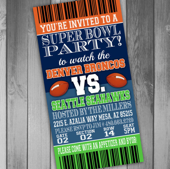 Custom Big Game Invititations super bowl party invitations