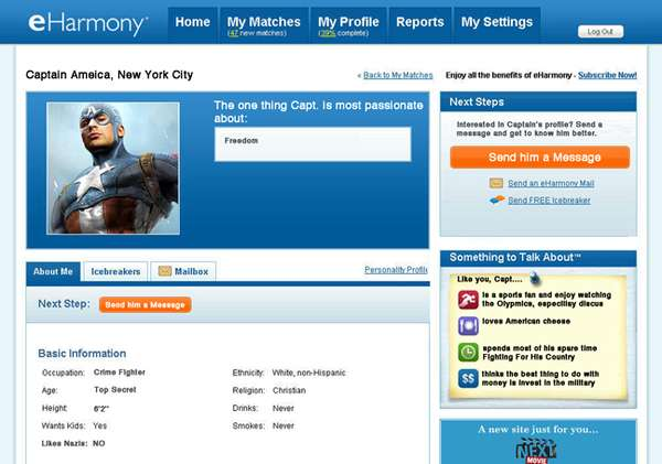 Hilariously Heroic Web Profiles