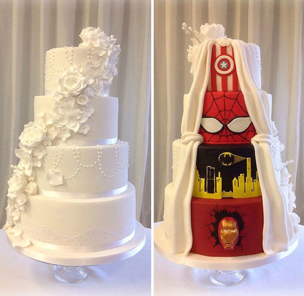 Hidden Superhero Wedding Cakes