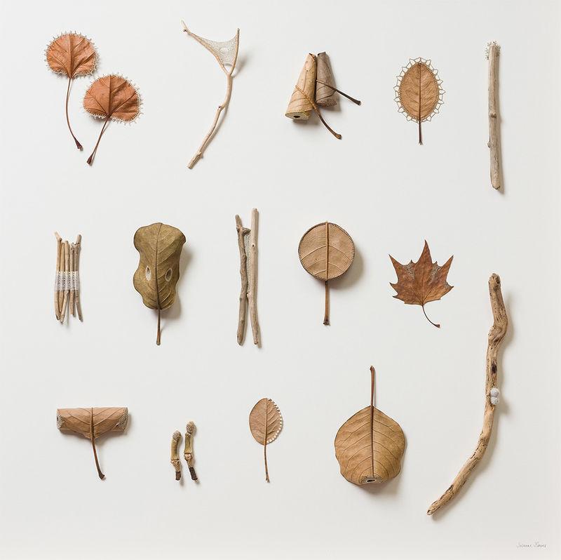 Crocheted Leaf Sculptures