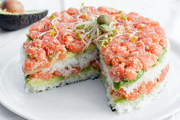Japanese Layered Cake Recipe: Japanese Dish Desserts : Sushi Cake