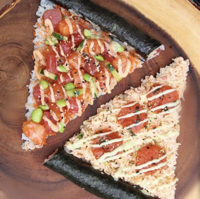 Seaweed-Crusted Sushi Pizzas