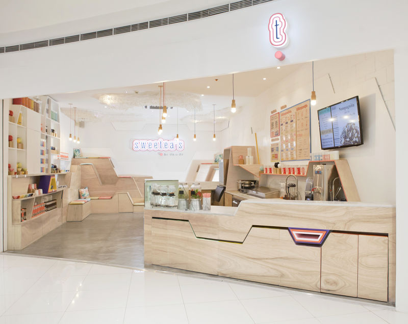 Geometric Tea Shop Interiors