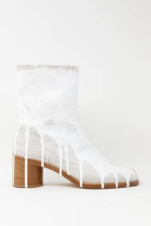 Paint-Splattered Split-Toe Boots