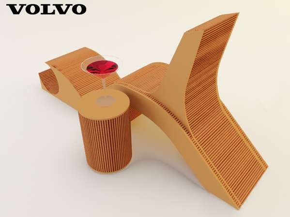 Tail Light-Inspired Furniture: 3-in-1 Cardboard Lounge Set Inspired by the Volvo C30