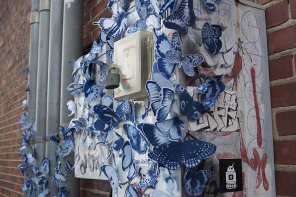 Butterfly-Bombed Street Art