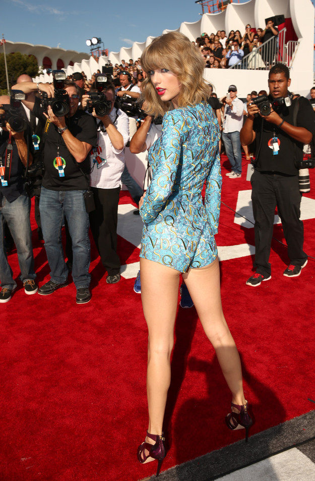 2a04348de Form-Fitting Peacock Rompers : Taylor Swift VMAs