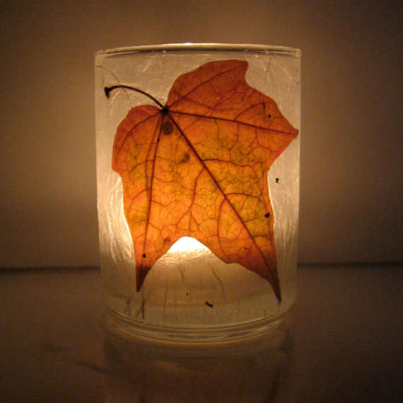autumn leaf candle holders   tea light candle holders