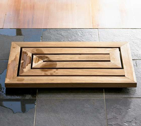 Carved Bamboo Bath Mats