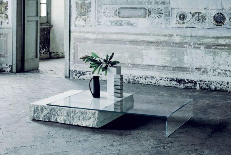 Balanced Glass Limestone Tables