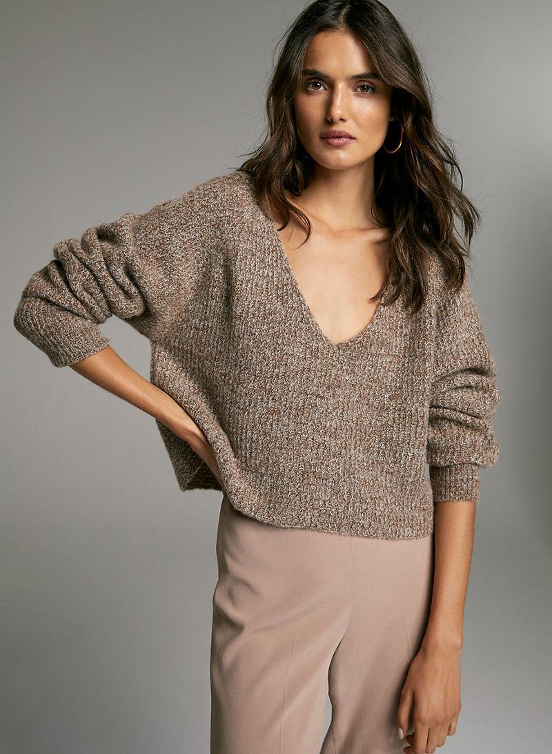 Deep-V Neckline Alpaca Sweaters
