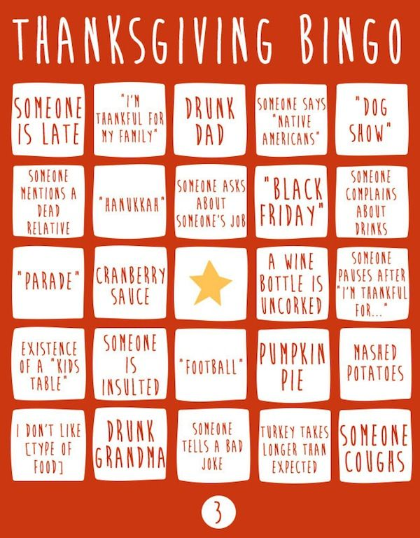 Holiday Gathering Bingo Games Thanksgiving Game