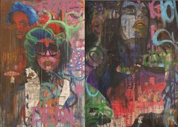 Moody Mixed-Media Pop Art