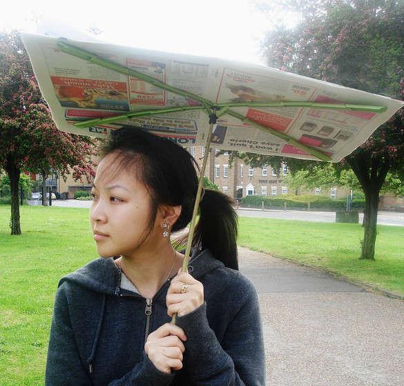 Trash-Utilizing Umbrellas