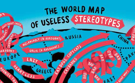 Comical continental beliefs the world map of useless stereotypes comical continental beliefs gumiabroncs Image collections
