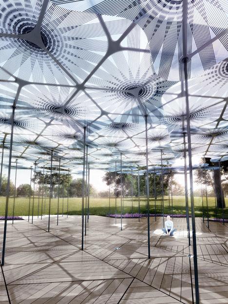Carbon Fiber Petal Pavilions