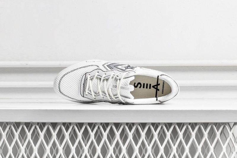 Outline-Stitched Knit Sneakers
