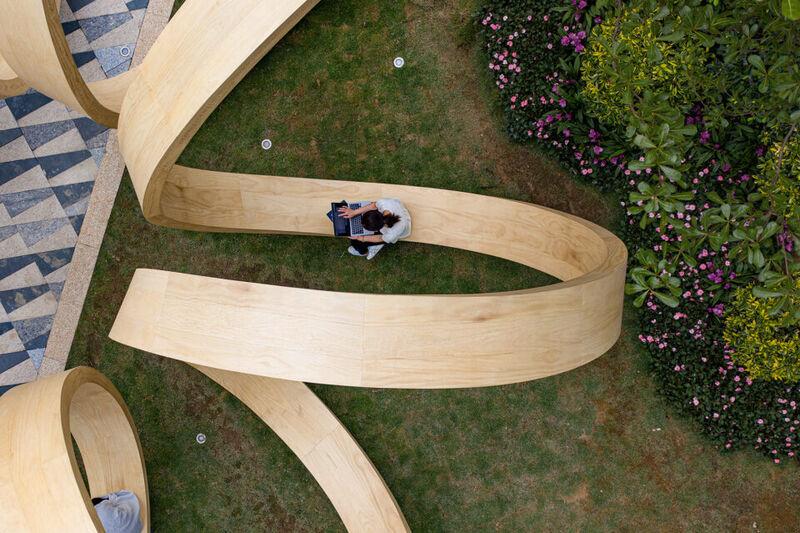 Sculptural Spiral Benches
