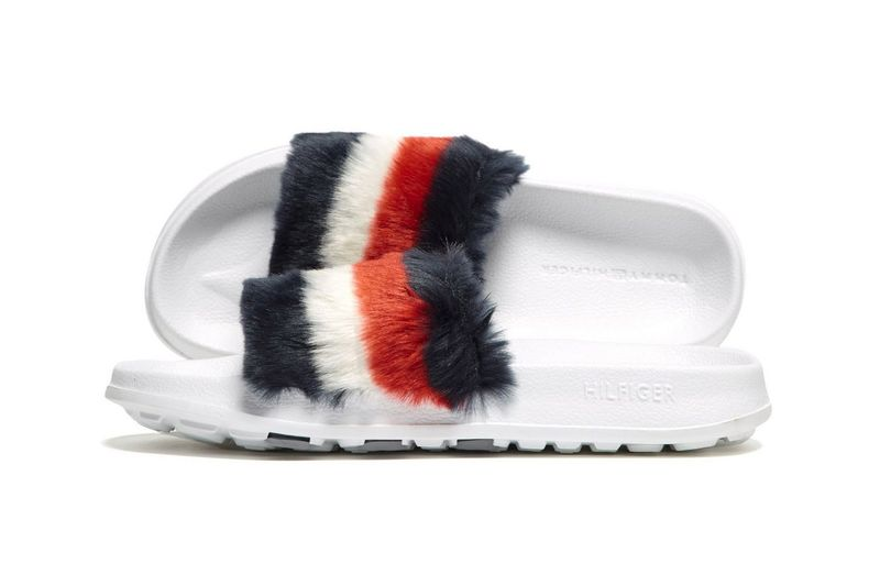 fuzzy logo slide shoes tommy hilfiger slides