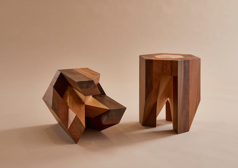 Puzzle Like Wooden Stools Traditional Japanese Furniture Design