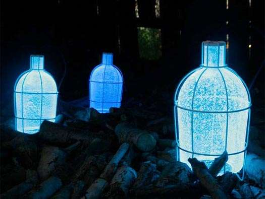 Blue Illuminating Bottles
