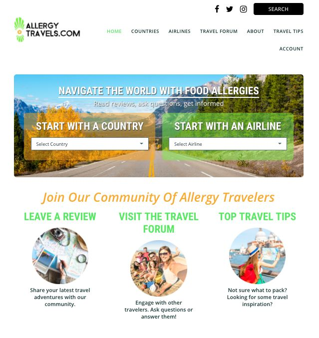 Allergy-Friendly Travel Platforms : traveling with an allergy